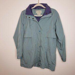 L.L. Bean Anorak Rain Jacket Hood Mesh Lined Blue